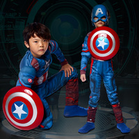 Captain America muscle for children cosplay halloween costumes Makeup ball performance clothes boys hero party costume set