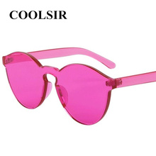 COOLSIR Fashion Women Cat Eye Shades Luxury Sun glasses Integrated Eyewear Candy Color