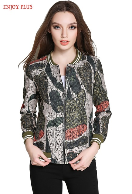 chest 95 -120cm spring 2017 army lace jacket women print big size casual long sleeve outerwear for lady L- 5XL