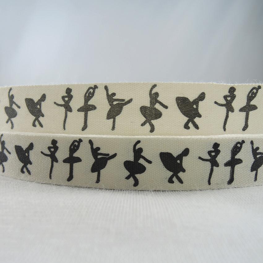 NEW 5815mm 100% Cotton Ribbon Black Ballet girl Printed Webbing DIY Craft Sewing & Packing Cloth Fabric Ribbons 20Yards XM-78