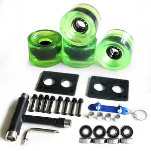 Image 5 - Longboard Wheels Set 70mm 78A Colorful PU Skateboard Wheels Transparent With Riserpad And Bearing Bolts Screws