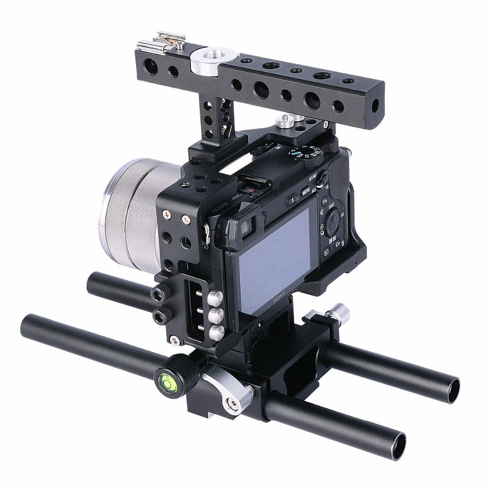15mm Rod Rig DSLR Camera Video Cage Kit Stabilizer+Top Handle Grip for Sony A7 II A7R A7S A6300 A6500 Panasonic GH4 GH3 15mm rod rig dslr camera video cage kit stabilizer top handle grip for sony a7 ii a7r a7s a6300 a6000 panasonic gh4 gh3
