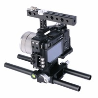 15mm Rod Rig DSLR Camera Video Cage Kit Stabilizer+Top Handle Grip for Sony A7 II A7R A7S A6300 A6500 Panasonic GH4 GH3
