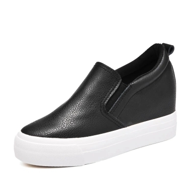 Free shipping  spring new fashion women shoes flatform loafers PU leather slip-on casual women fashion Casual shoes 7cm heel