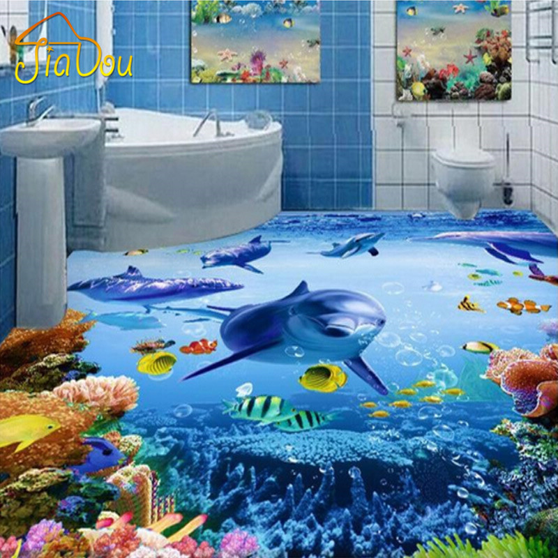 Custom Photo Wallpaper 3D PVC Self adhesive Wear Non slip Thickened Waterproof Ocean Bathroom. Online Get Cheap Ocean Bathroom  Aliexpress com   Alibaba Group