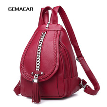 Купить с кэшбэком Female Backpack Designer high quality Leather Women Bag Fashion School Bags Large Capacity Backpacks Travel Bags