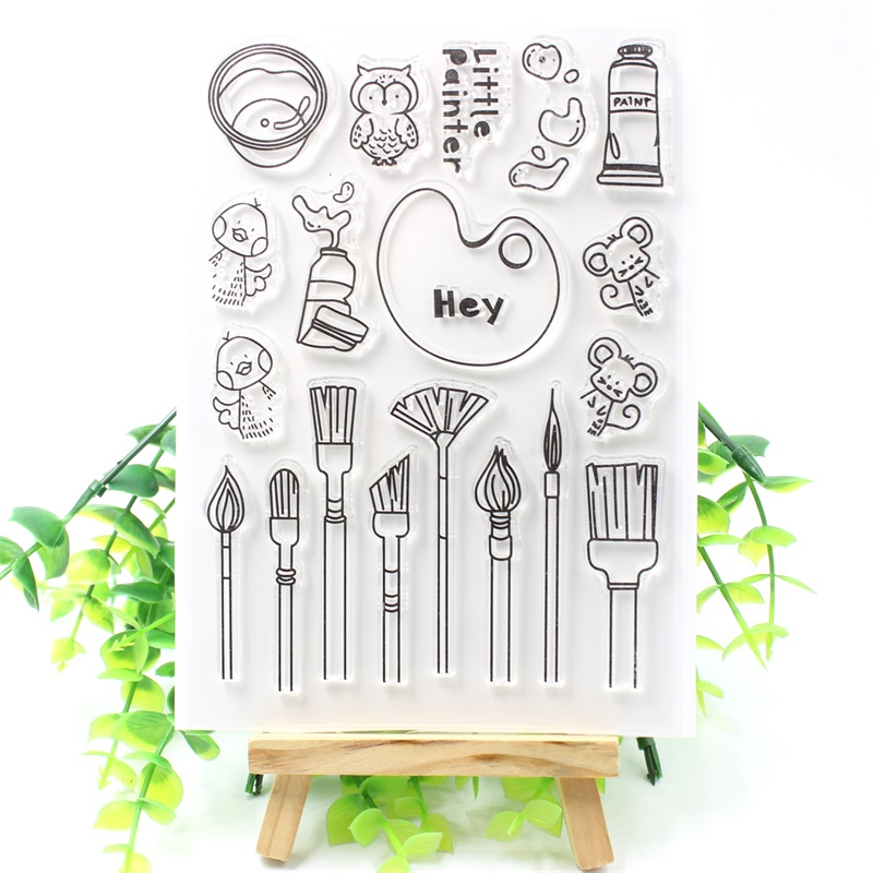 Little Painter Transparent Clear Silicone Stamps for DIY Scrapbooking/Card Making/Kids Crafts Fun Decoration Supplies