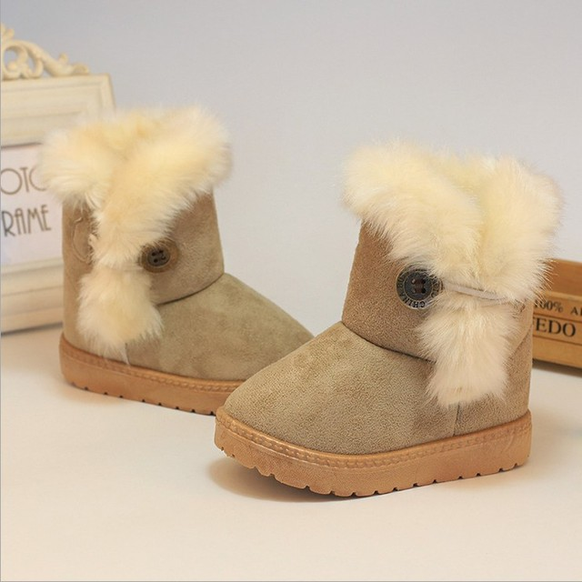 2016 new ankle high flat kids winter fur pink baby girl boots