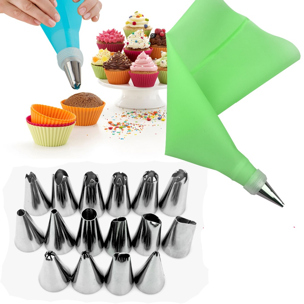 18 PCS Set Silicone Pastry Bag Nozzles Tips DIY Icing Piping Cream Reusable Pastry Bags 16 Nozzle Set Cake Decorating Tools in Dessert Decorators from Home Garden