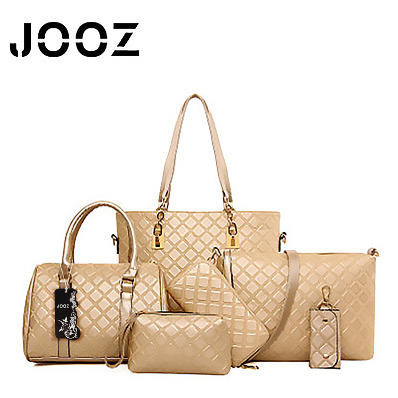 ФОТО JOOZ Brand Luxury female bag Lady Leather 6 Pcs Composite Bags Women Shoulder Crossbody Bags Handbag Purse Clutch Composite Bag