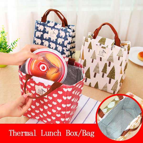 QZH Printed Waterproof Thermal Lunch Bags For Women Food Lunch Kids School Picnic Cooler Bag Storage Container Lady Handbag