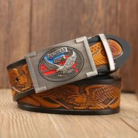 2019 Hot Sale Eagle model Automatic buckle luxury brand belt genuine leather waist strap black jeans 115 cm