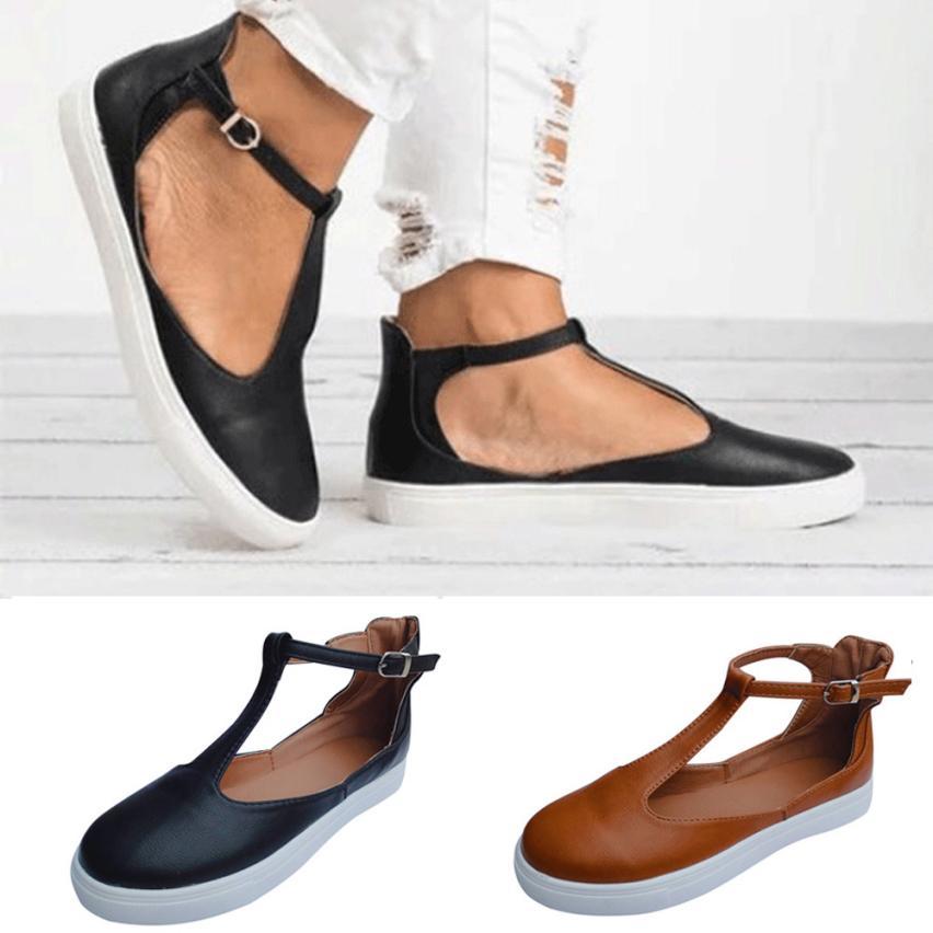 Casual Black brown Sangle Rond Vintage Solide Femmes Plate 2018 forme Célibataires Boucle D'été Plat Chaussures Mocassins Bout OcaxRZ