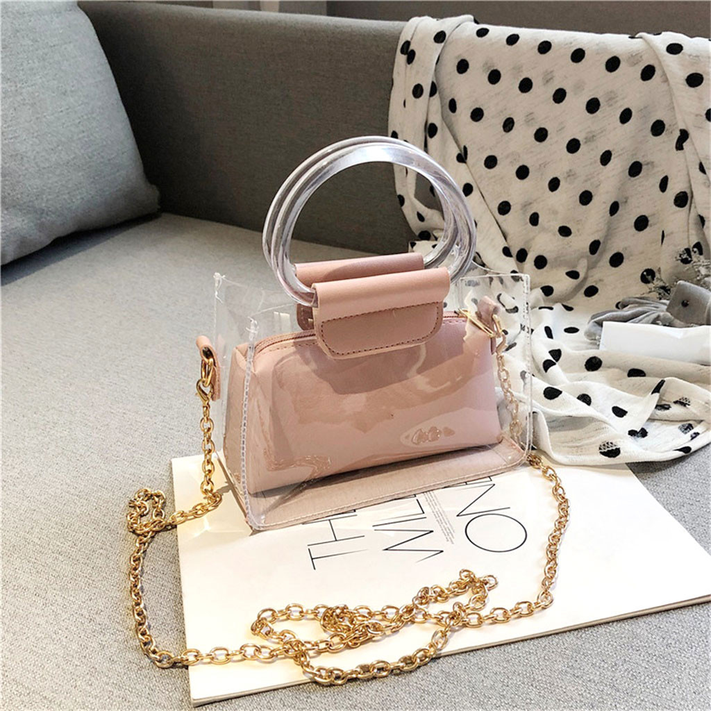 2pcs Bags (Child&mother) Bags Transparent Handle Chain Small Jelly Letter Print Simple Shoulder Purse Beach Bag Clutch Bolsa