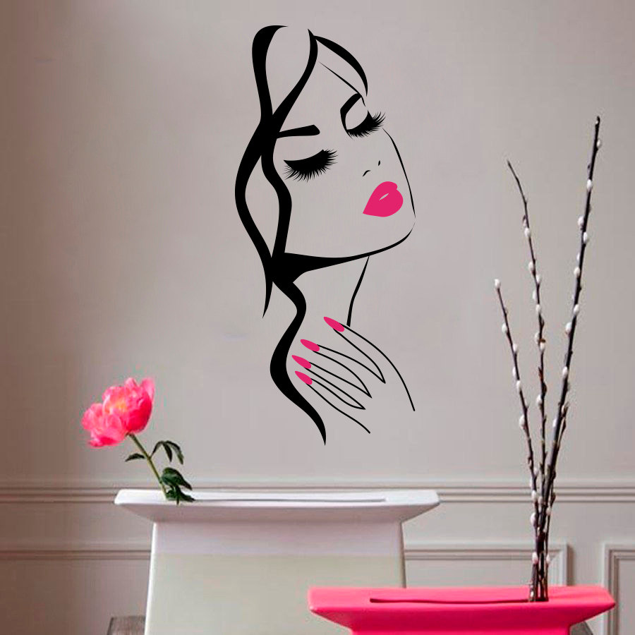 Wall decal beauty salon manicure nail salon hand girl face for Stickers pared baratos