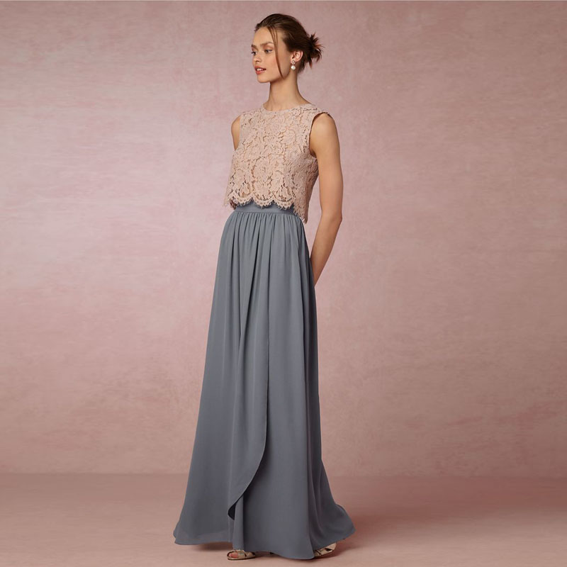Custom Made Chiffon Long Skirt High Quality Dusty Blue Bridesmaid Skirt For Wedding Bride Party Skirt 2017 Any Color Free