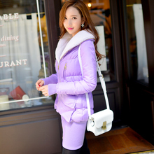 Original 2016 Brand Winter Warm Down Coat Plus Size Slim Elegant Light Purple Turn-Down Collar Long Parka Women Clothes Wholesal
