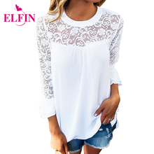 Causal Women Blouses Shirts Ladies 3/4 Sleeve Frill Tops Hollow Out O-Neck Ladies Lace Shirt WS553R