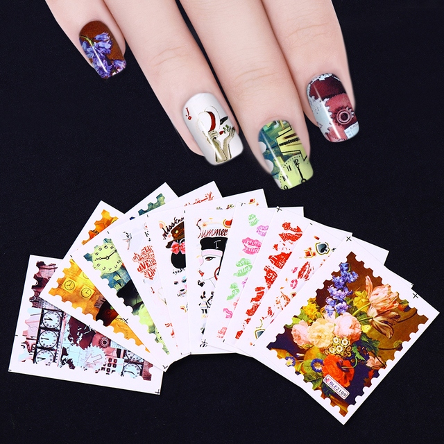 10 Sheets Stamp Shape Nail Water Decal Flower Kiss Clock Nail Art ...