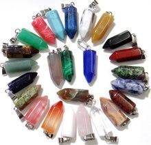 Natuursteen amethist Agaate Quartz Crystal tiger eye Mix pijler charms chakra Hangers for a Diy sieraden maken ketting24pcs A3