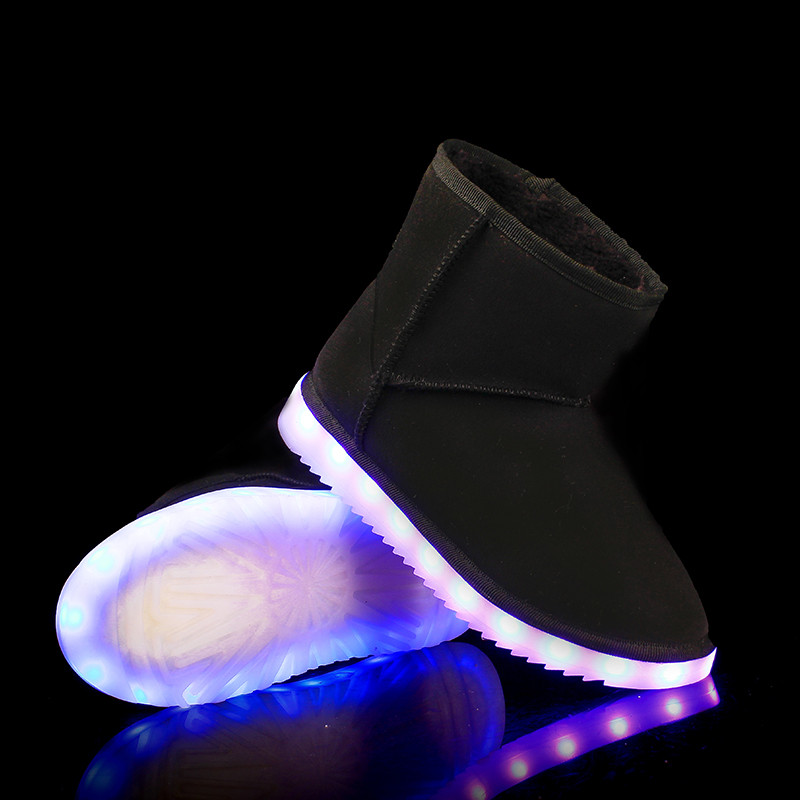 ФОТО 2017Light up women boots Winter  Superstar Boots Fashion Warm Plush Fur Snow Boots Light Up Glowing Shoes Flashing Boots Zapatos