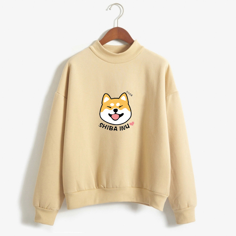 Women Harajuku Hoodies Fleece Autumn Kawaii Cute Japanese Anime Shiba Innu Pullover Kpop Sweatshirt Moletom sudadera