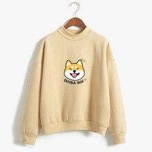 Для женщин худи Харадзюку флис Осень Kawaii милые японского аниме Шиба Инну пуловер Kpop Толстовка Moletom sudadera mujer