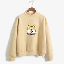 Women Harajuku Hoodies Fleece Autumn Kawaii Cute Japanese Anime Shiba Innu Pullover Kpop Sweatshirt Moletom sudadera mujer