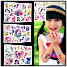 Cartoon My Little Pony Kids Temporary Tattoo Children Body Art Fake Flash Tattoo Stickers, Waterproof Tatoos Horse Free Shipping
