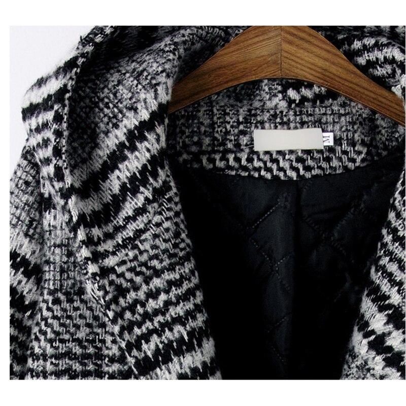 Bouton Veste Manches Couvert Hiver Longue Mode Laine Chaud Ym785 Nouvelle Plaid Noir Pleine Manteau Épais Fille Femmes Automne À Capuche Poches BUq0v