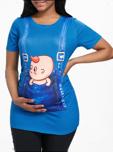 Pregnant Clothes Women's Maternity Shirt Comfortable Pregnancy Pregnant Top Ruched Sides T-Shirt for Pregnant Women
