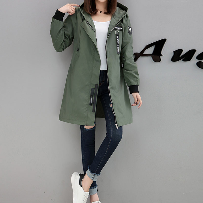 2018 New Autumn   Trench   Coat Women Causal Long Sleeve with Hood Long Army Green Female Coats Plus Size