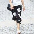 Promoção de Verão Meados de Bezerro-comprimento Flor Calças Leggings Crianças Leggings Moda Leggings Menina Calças de Algodão Casuais