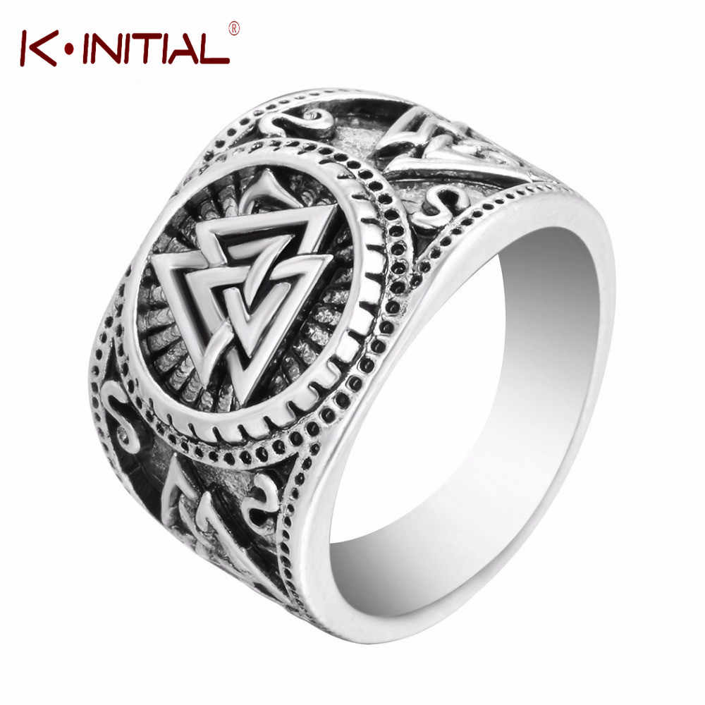 Kinitial Odin Symbol Norse Viking Runes Rings For Men Runic Norse Valknut Vikings Antique Charm Knuckle Ring Coiler Jewelry