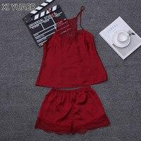 XI YUAER Ladies Sexy Silk Satin Pajama Set Lace Pyjama Set Sleeveless Set V Neck Sleepwear