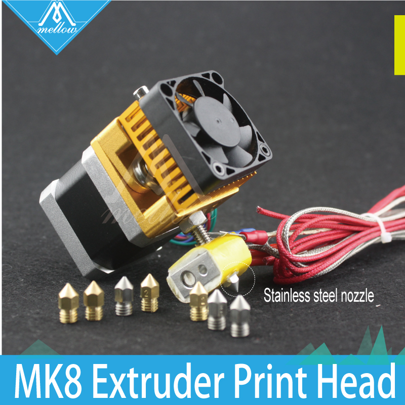 3D Printer Head MK8 Extruder J-head Hotend Stainless steel+Brass Nozzle 0.2/0.3/0.4/0.5mm 1.75 Filament for Makerbot, i3 flsun 3d printer big pulley kossel 3d printer with one roll filament sd card fast shipping