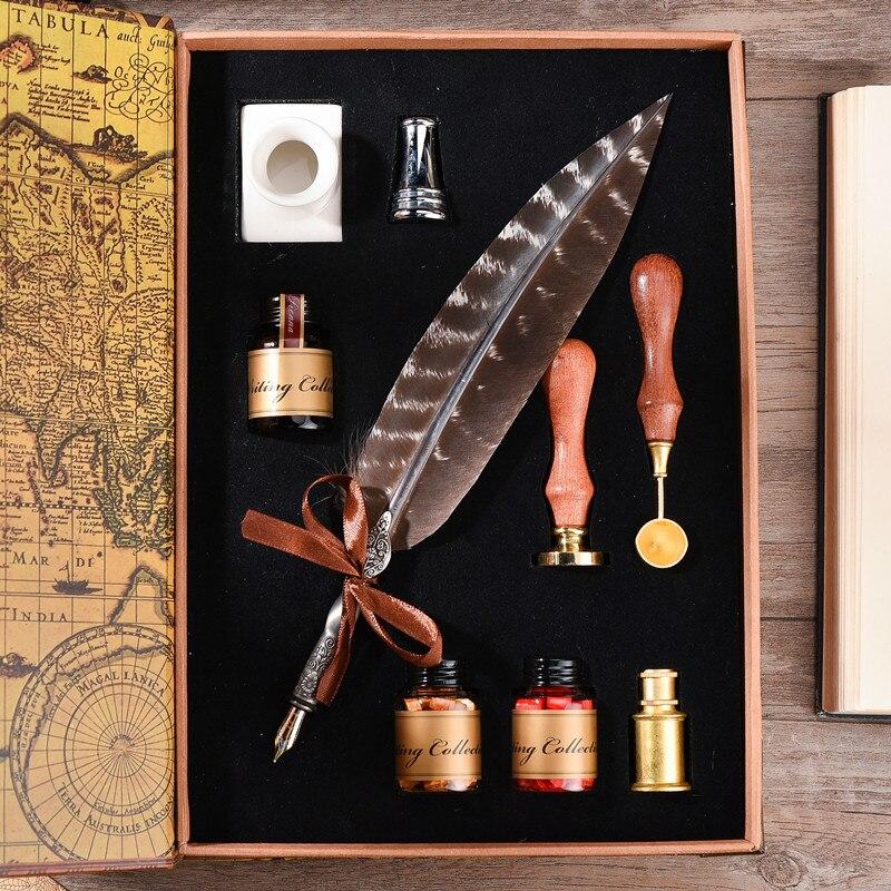 MDLG de luxe qualité Vintage européenne Quill timbre plume Dip stylo ensemble stylo plume écriture inkpapeterie ensemble avec boîte-cadeau