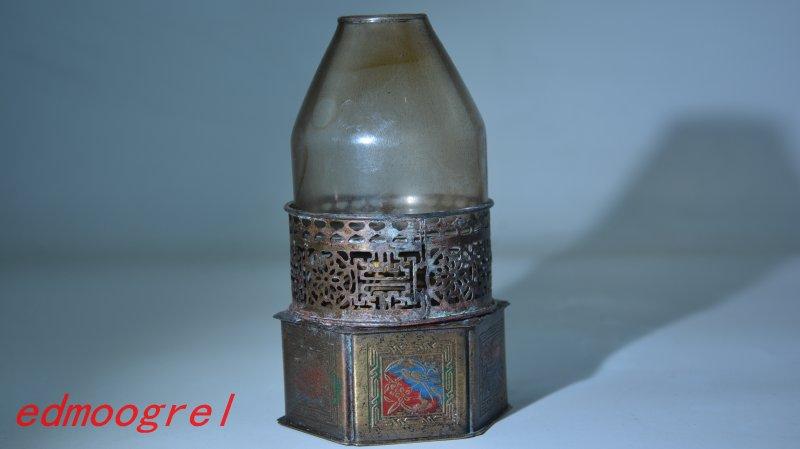 Velmi vzácná lampa Qium Dynasty Opium, mosaz a Cloisonne
