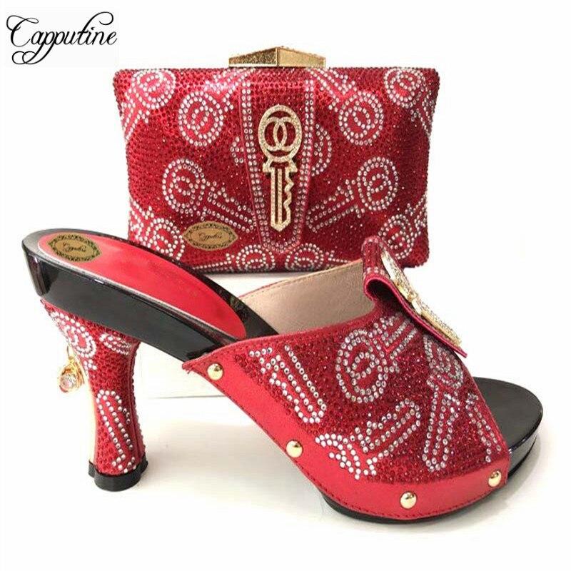e1618ea730 2018 Italien StyleFull Strass Noir Couleur Chaussures Et Sac Ensemble  Lastes Afrique Femme Talons Chaussures Et Sac Ensemble Pour La Fête TX 636  dans Pompes ...