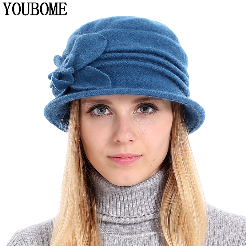 Temperamentvoll Youbome Frauen Fedoras 100% Wolle Dome Herbst Winter Hüte Für Frauen Floral Casual Warme Dame Floppy Solide Weiche Mädchen Weibliche Fedoras Clear-Cut-Textur