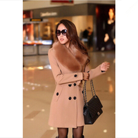 2015 Winter Women's Double Breasted Big Fur Collar Plus Size Wool Coat Long Winter Jackets Parka Coats Outerwear High Quality