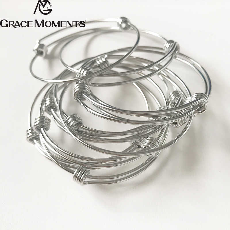 4pcs/lot GRACE MOMENTS Stainless Steel 60mm Blank Bangle Bracelet 1.8mm Thick Expandable Wire Bracelet Accessory DIY Jewelry
