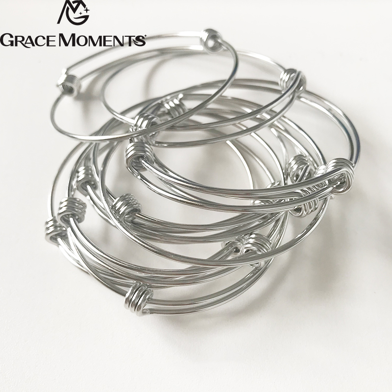 4pcs/lot GRACE MOMENTS Stainless Steel 60mm Blank Bangle Bracelet 1.8mm Thick Expandable Wire Bracelet Accessory DIY Jewelry bangle