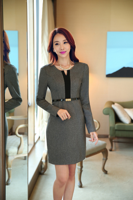 Women Long Sleeves Career Dress Slim Formal Business Dress Women