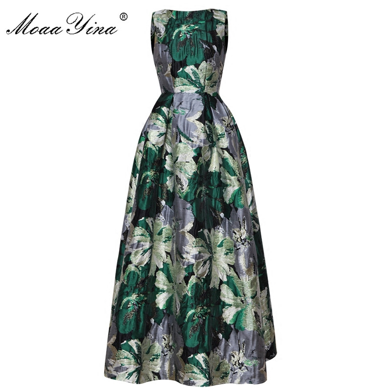 MoaaYina High Quality Fashion Designer Ball Gown Dress Spring Women Sleeveless Print Jacquard Party Banquet Noble Elegant Dress
