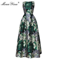 MoaaYina High Quality Fashion Designer Ball Gown Dress Spring Women Sleeveless Print Jacquard Party Banquet Noble Elegant Dress