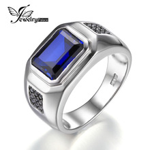 JewelryPalace Males four.3ct Created Blue Sapphire Pure Black Spinel Anniversary Marriage ceremony Ring Real 925 Sterling Silver Ring