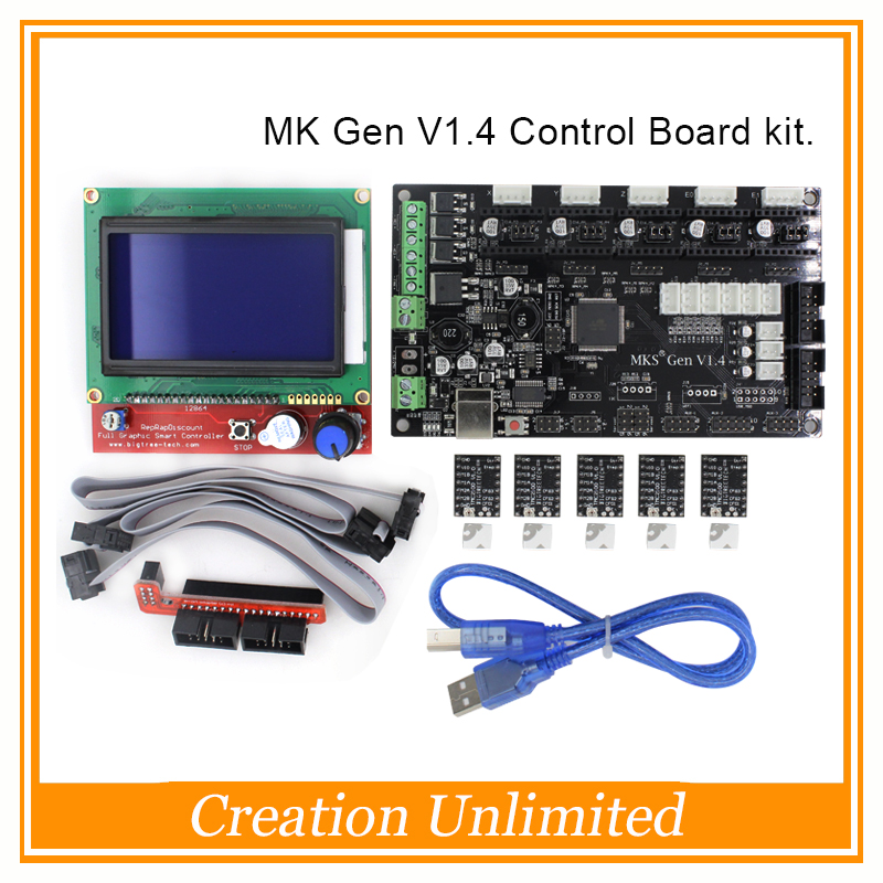 MKS Gen V1.4 3D printer kit with MKS Gen V1.4 RepRap Control board + 5PCS TMC2100 Driver/8825/A4988 + 12864 LCD professional 3d printer kit mks gen 1 4 control board lcd 12864 6x limit switch 5x 4988 stepper driver high