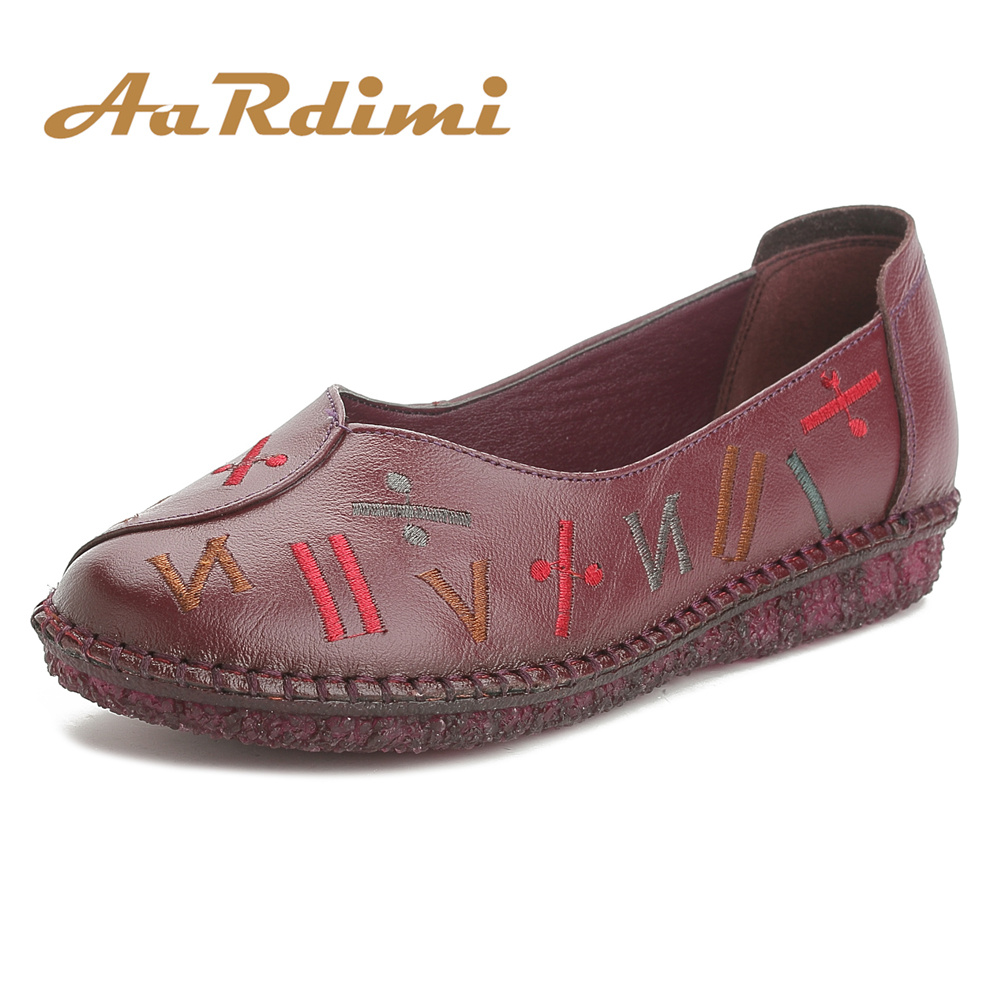 AARDIMI Vintage Spring Shoes Woman 100% Cow Leather Handmade Flats Loafers Female Solid Comfortable Casual Women Shoes aardimi 100% cow leather oxford shoes for woman spring