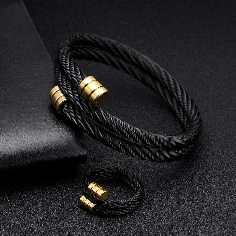 Black Stainless Steel Mesh Surface Charm Bracelet Bangles Luxury Braided Vintage Men Women Cuff Chain Link Bracelets Pulsera